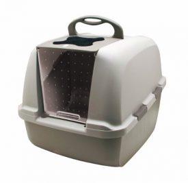 Catit-Jumbo-Hooded-Cat-Litter-Pan-Warm-Gray-0