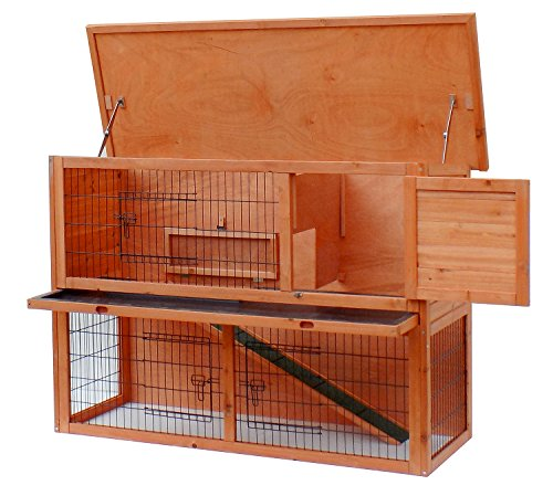 Merax Pet Rabbit Bunny Wood House Hutch with ABS Tray Natural