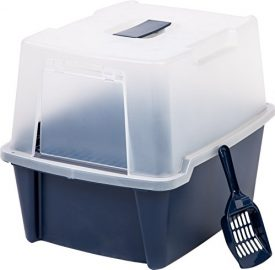IRIS-Hooded-Litter-Box-w-Scoop-Paw-Cleaning-Grid-Large-Navy-0