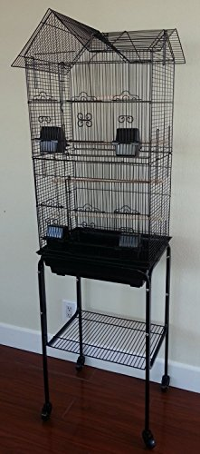 Large-Canary-Parakeet-Cockatiel-LoveBird-Finch-Roof-Top-Bird-Cage-With-Stand-18x14x60-Black-0