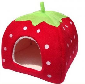 Leegoal-Cute-Soft-Sponge-White-Dots-Strawberry-Pet-Cat-Dog-House-Bed-With-Warm-Plush-PadRed-M-0