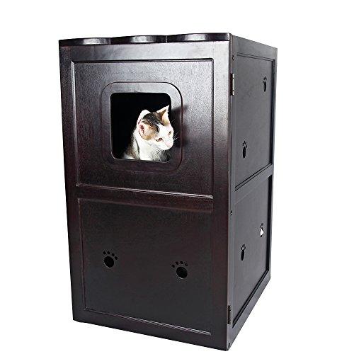 Petsfit 21x25x35 Inches Espresso Double Decker Pet House