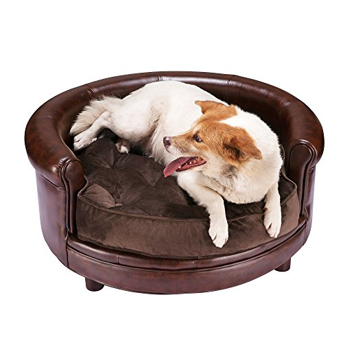 Villacera Chesterfield Faux Leather Large Dog Bed Designer Pet Sofa By Villacera Brown