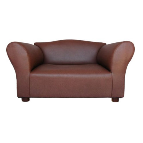 Mini Sofa Brown Leatherette Pet Bed