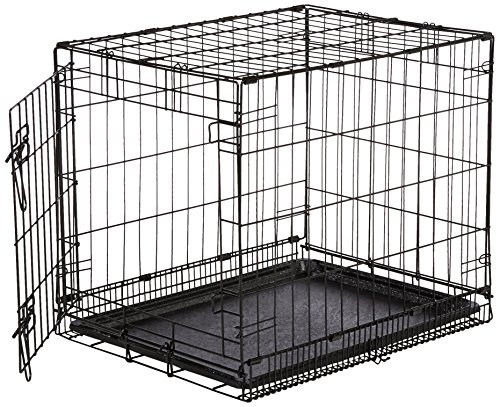 Amazonbasics single door folding metal dog crate small - 28 inch exterior steel door for sale ...
