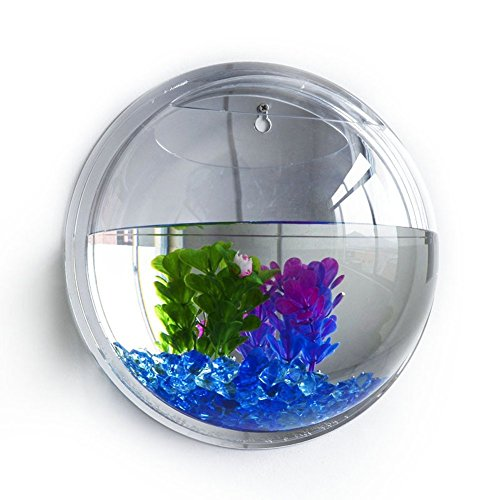 Vktech plant wall hanging mount bubble aquarium bowl fish for Bubble wall fish tank