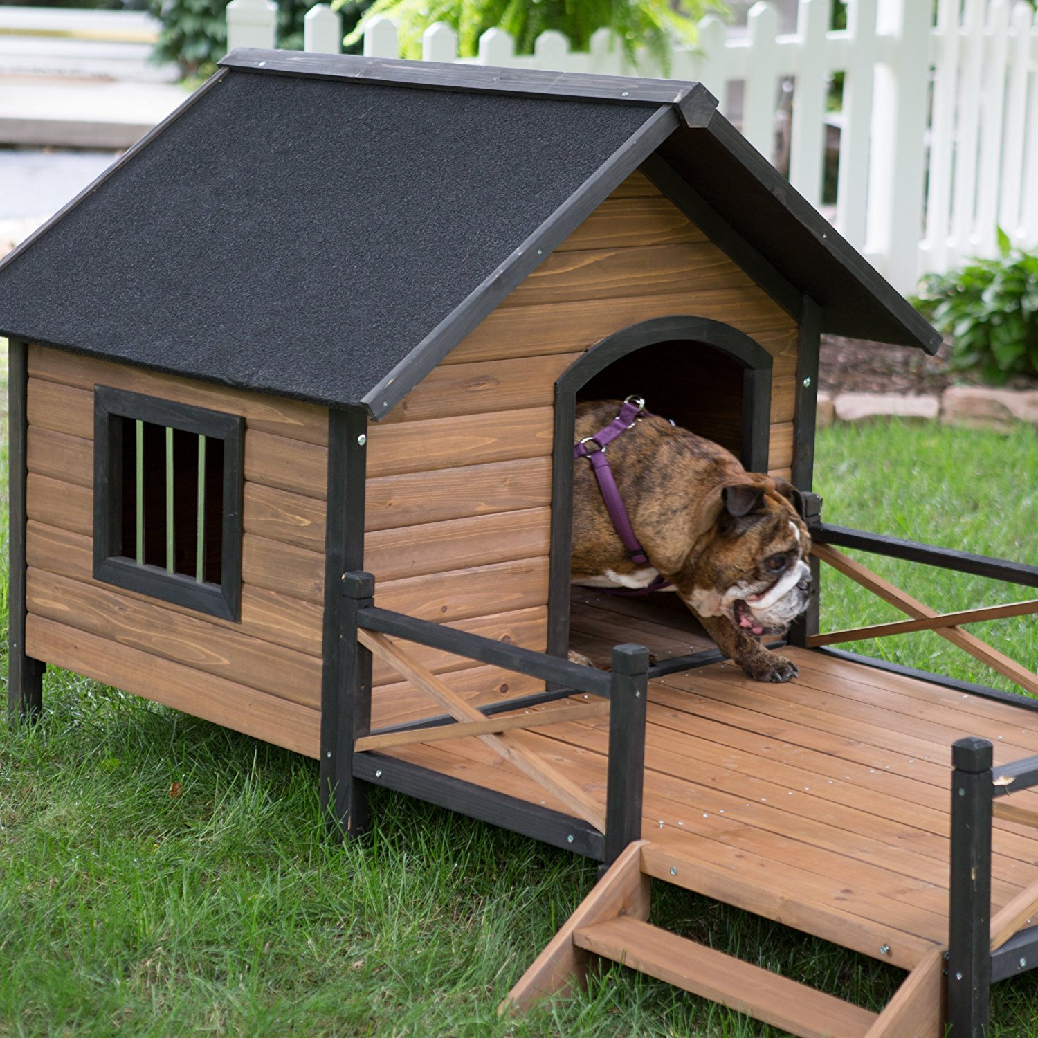 Home Design Ideas For Dogs: Large Dog House Lodge With Porch Deck