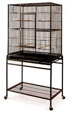 Large-Wrought-Iron-Flight-Canary-Parakeet-Cockatiel-Lovebird-Finch-Cage-With-Removable-Stand-15-Black-Bird-Cage-32-Inc-0