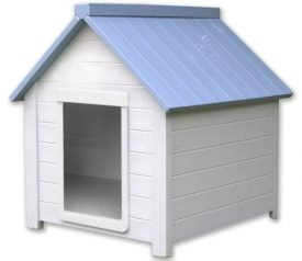 NewAgePet-Small-All-Weather-Insulated-Dog-House-Bunk-House-with-Small-Door-WhiteBlue-Small-for-Pets-Up-To-25-Pounds-0