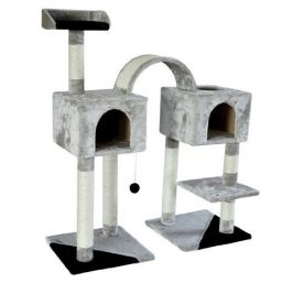Pawhut-46-Cat-Tree-Scratching-Post-Toy-Condo-Furniture-House-GreyBlack-0