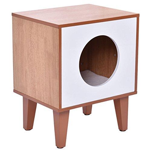 tangkula cushion enclosure pet bed cabinet cleaning hidden box wood product furniture cat