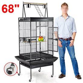 Yaheetech-Pet-Bird-Cage-Play-Top-Parrot-Cockatiel-Cockatoo-Parakeet-Finches-68Black-0