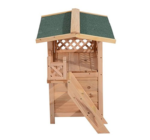Wood Cat Shelter : Pawhut story indoor outdoor wood cat house shelter with