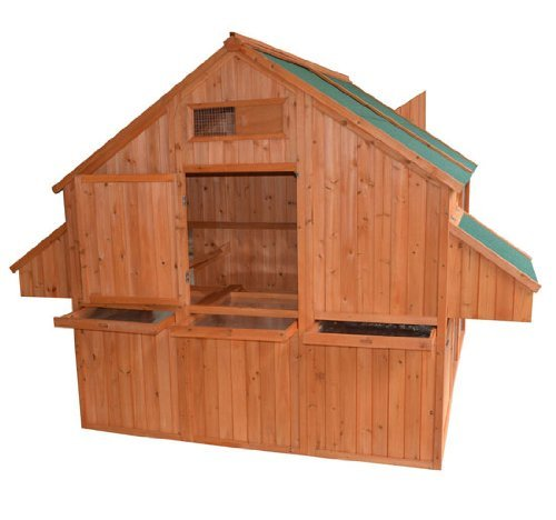 Pawhut deluxe extra large backyard chicken coop hen for Large chicken house