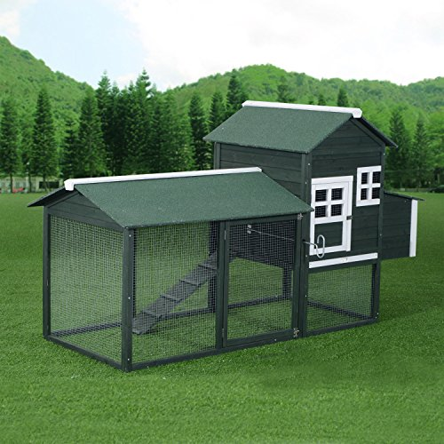 Pawhut wooden backyard poultry hen house chicken coop for Wooden chicken crate plans
