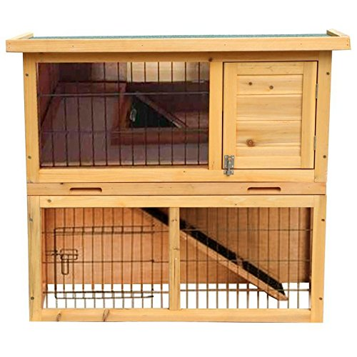 Yaheetech 36 two tier pet rabbit hutch bunny guinea pig for Guinea pig dresser cage