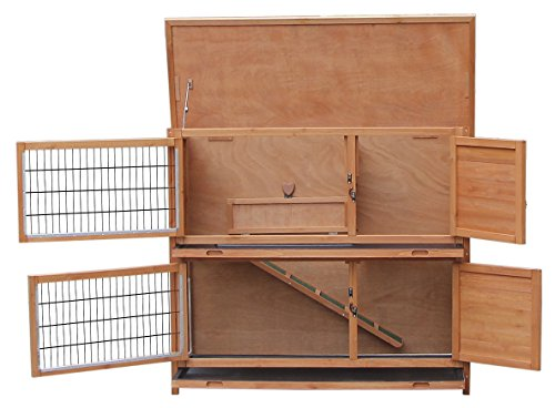 Merax Rabbit Hutch Wooden House Wooden Cage For Small